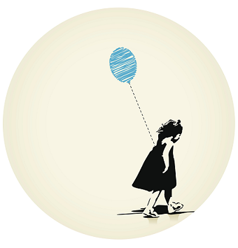 girl walking with a balloon