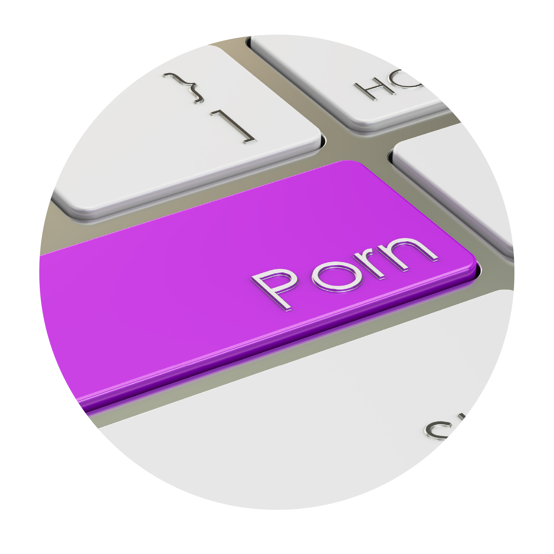 "A computer keyboard key with ""PORN"" written on it"